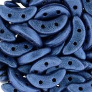Metallic Blue Suede  2 Hole Crescent Czech Glass Beads