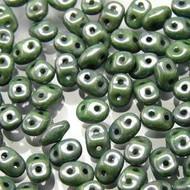 Miniduo 2x4mm Chalk Green Luster Czech Glass Beads