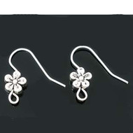 Silver Plated French Wires with Flower (Pair)