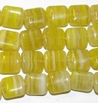 Yellow multi Marble Czech Glass Beads