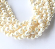 Genuine natural Off white Luster Freshwater Pearl Beads