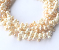 Genuine natural Rice-Oval Top Drilled Freshwater Pearl Beads