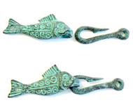 Green Patina Fish Hook hand forged clasp
