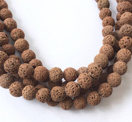 14mm Perfect Round Brown unwaxed Volcanic Gemstone lava Beads