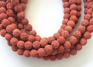 39 Perfect Round red brick unwaxed Volcanic Gemstone lava Beads