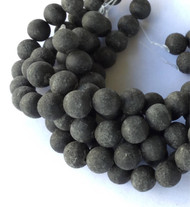 12mm Perfect Round smooth unpolished unwaxed Black Volcanic Gemstone lava