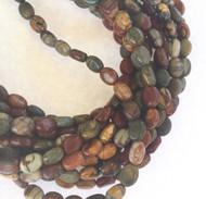 49 Natural Red Creek Jasper Flat Oval Gemstone beads Stone