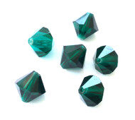 10mm Emerald Preciosa Czech Crystal Bicone Beads