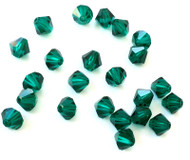 6mm Emerald Preciosa Czech Crystal Bicone Beads