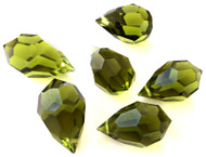 9x15mm Drop Olivine Preciosa Czech Crystal Beads