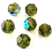 10mm Olivine AB Preciosa Czech Crystal Round Beads