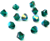 8mm  Emerald AB Preciosa Czech Crystal Bicone Beads