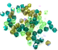 4mm Evergreen Mix Preciosa Czech Crystal Bicone Beads