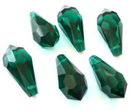 Teardrop Emerald Preciosa Czech Crystal Beads