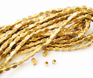 Authentic natural Faceted Oval Brass  spacer Beads