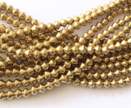 Authentic natural Bicone Brass  spacer Beads