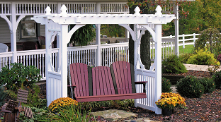 Poly Vinyl Outdoor Swings and Stands at Wayside Lawn Structures in Ohio