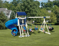 Package #GA44-5  Tower: 4'x4' A-Frame with 5' Deck Height, Vinyl Peak Roof, 5' Entrance Ladder with Hand Rails, Mini Rock Wall (5' Deck Height), 4 Position Single Swing Beam, 2~Belt Swings, 1~Highback Baby Swing, 1~4 Chain Rubber Tire Swing, 5' Twisty Turbo Tube Slide; Playset Dimensions: 11' x 23'