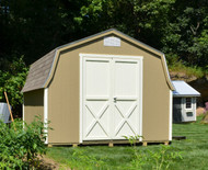 10x12 Boston with Khaki siding, Devon Cream trim, Crossbuck doors, Weathered Wood singles, aluminum threshold.