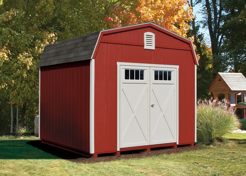 10x10 Mystic with Barn Red siding, custom color trim and doors, Weathered Wood shingles, Craftsman Crossbuck door, wood vents.