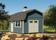 "12x16 Ontario. Riverway siding, Devon Cream trim and Weathered Wood shingles. Craftsman Stall doors, 30""x36"" aluminum windows, crossbar shutters and a large cupola."