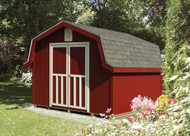 10x12 Windsor. SmartSide siding painted Barn Red with Devon Cream trim, Medium Gray shingles and Stall doors.