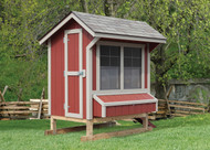 4x6 Coop, Red with Tan trim