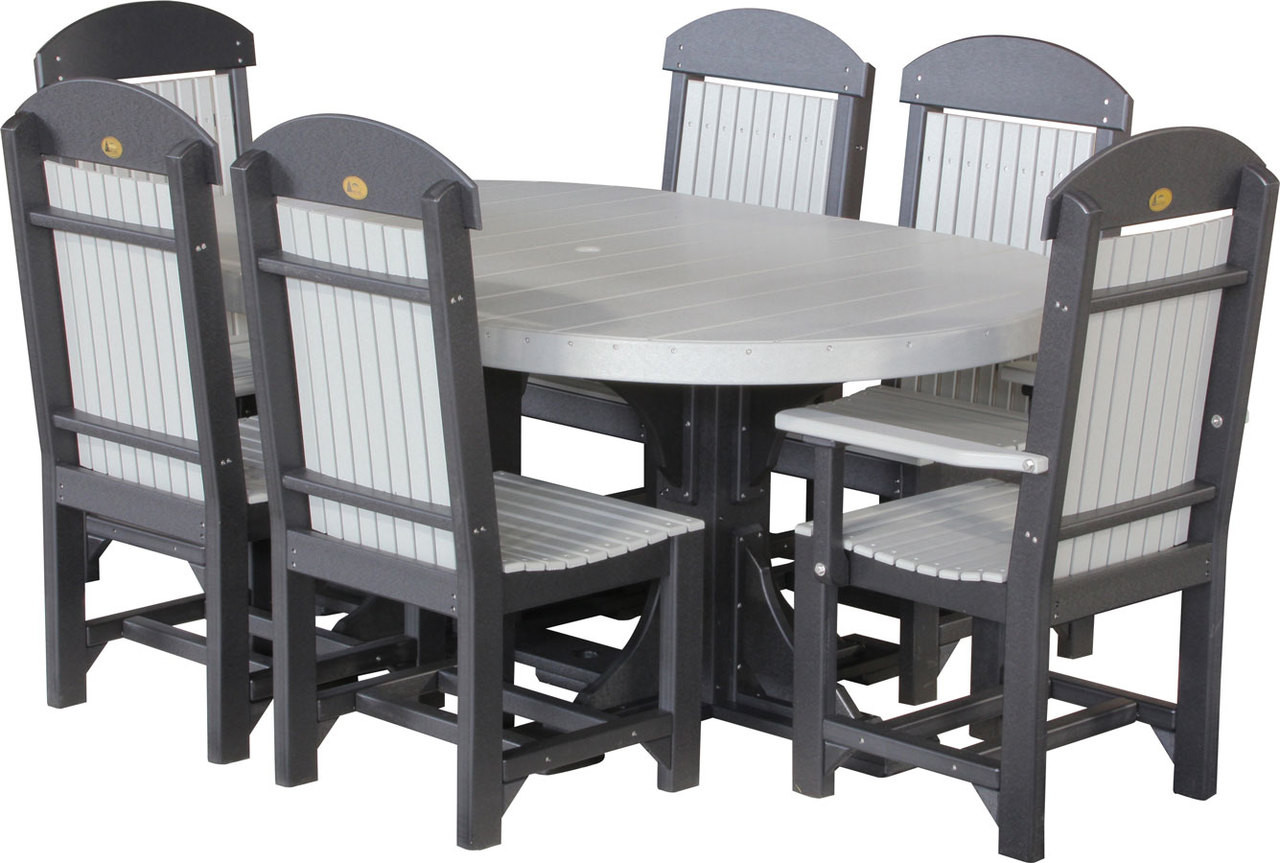 4x6 Oval Table Set 2 Lifetime Warranty Outdoor Poly