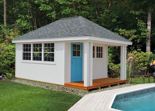 12x16 Payson. Soft White Siding And Trim, Medium Gray Shingles, Cool Blue  Cottage