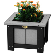 "Weatherwood and Black 15"" Square Poly Planter"