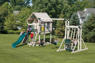 Package #H68-10  Tower: 6' x 5' playhouse on 6' x 8' deck with 5' Deck Height, Longer Post to Attach a High Beam, 5' Entrance Ladder with Hand Rails, Mini Rock Wall (for 5' Deck Height), 3 Position Extra High Swing Beam (10 High), 2~Belt Swings, 1~Trapeze, Easy Rider Glider, Wonder Wave Slide, Tic Tac Toe; Playset Dimensions: 17' x 25'