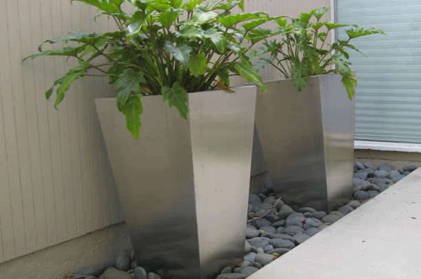 Tapered Stainless Steel Planters