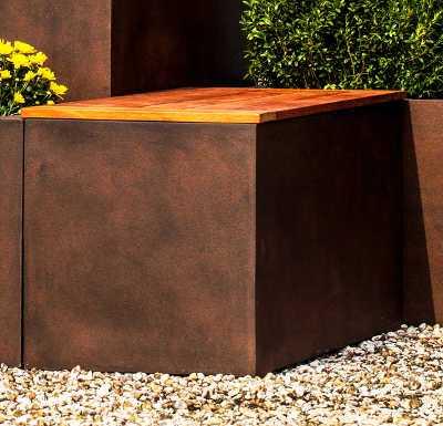 Metropolitan Lite Square Planter Rust Bench Seat