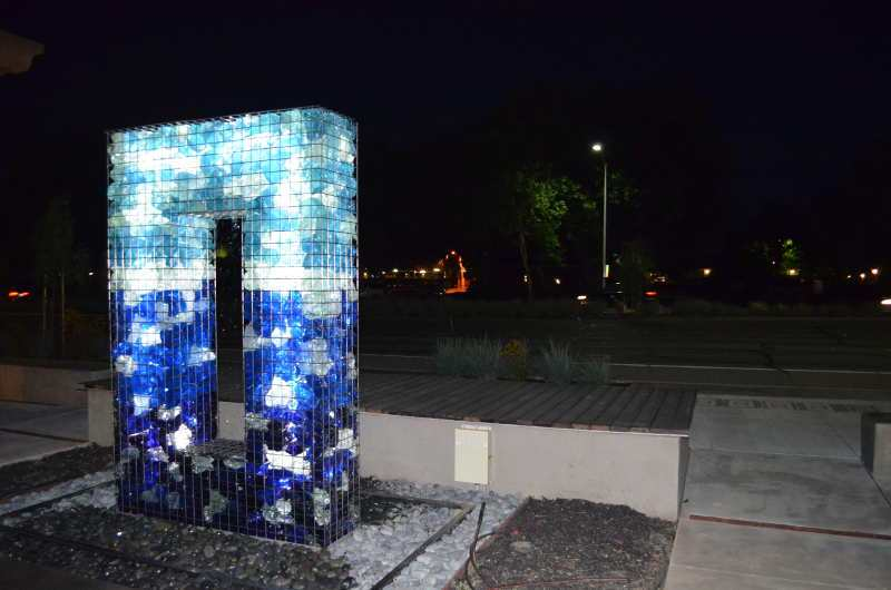 LED Gabion Fountain at Night