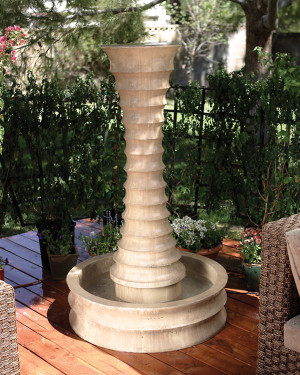 Round Scallop Fountain (GFRC in Ancient finish)