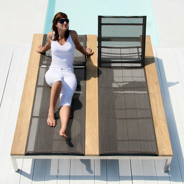 OKO Double Lounger - Stainless Steel, Recycled Teak, Batyline
