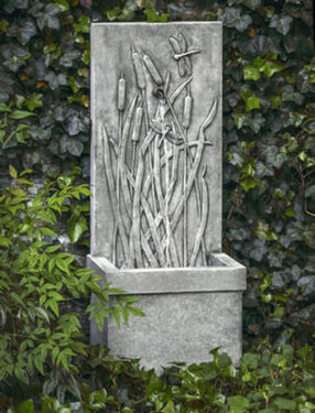 Dragonfly Wall Fountain (Cast Stone in Alpine Stone finish)