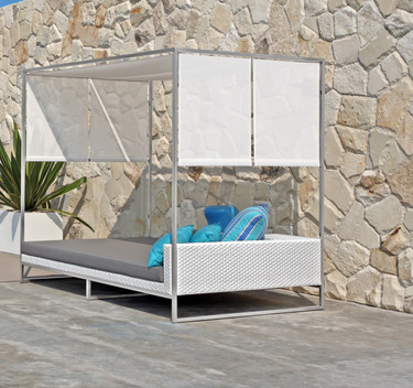Jane Daybed with Canopy - Stainless Steel, White Wicker, Taupe Sunbrella Cushion, Batyline Shade