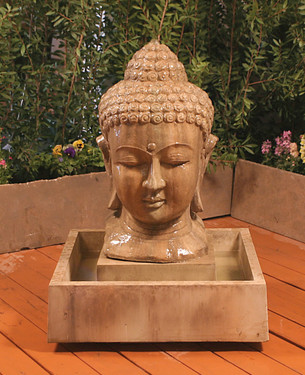 Buddha Head Fountain   Small   Material : GFRC   Finish : Sierra
