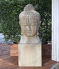 Buddha Head Statue(shown on a pedestal) - Material : GFRC - Finish : Sierra