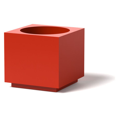 Block Planter - Material : Aluminum : Finish : Red
