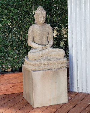 Sitting Buddha Statue(shown on a pedestal) - Material : GFRC - Finish :  Sierra
