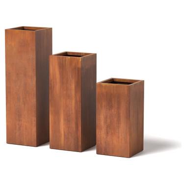 Column Planter Tall Narrow Metal Modern