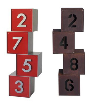 Cube Metal Address Sign - Material : Aluminum, Steel - Finish : Red, Metallic Silver and Natural Rust