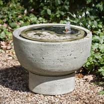 Yin-Yang Pot Fountain Profile - Material : Cast Stone - Finish : Alpine Stone