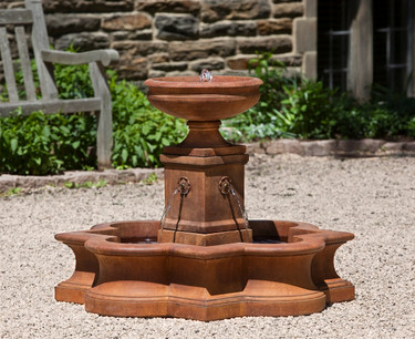 Beauvais Fountain - Material : Cast Stone - Finish : Ferro Rustico