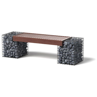 Gabion Bench Product Shot - Steel, IPE, mexican pebble