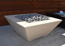 "42"" Geo Square Fire Table - Limestone, tumbled lava rock"