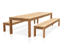"Eden Reclaimed Teak Outdoor Dining Set - 118"" Table and 102.5"" Benches"