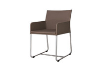 ZUDU dining armchair - Stainless Steel,  Nutmeg Batyline